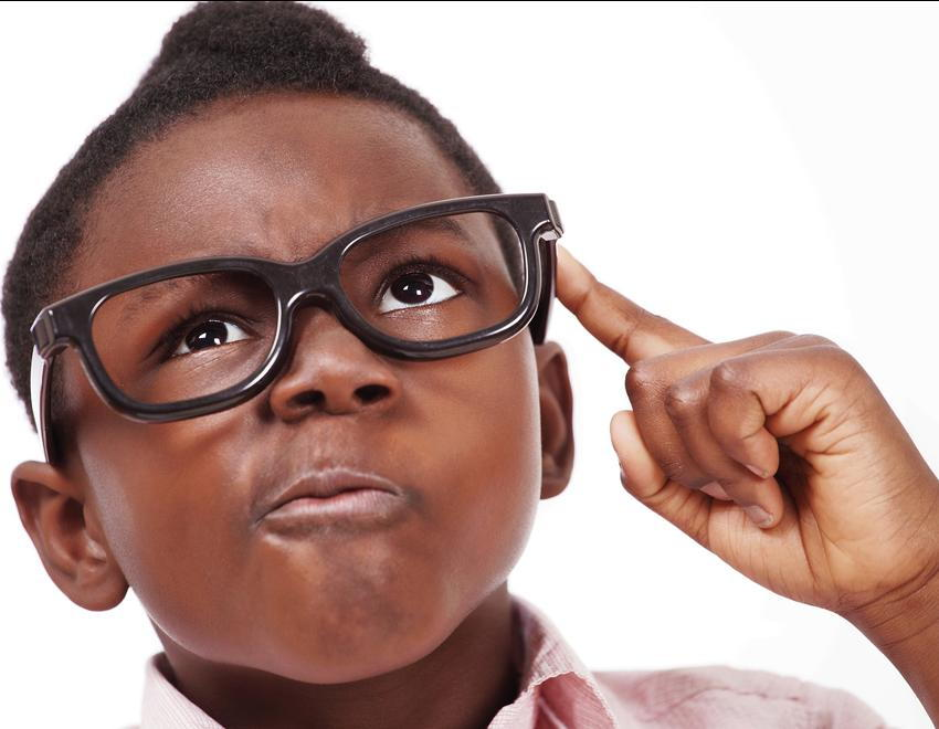 Kid thinking about whats better, contact lenses or glasses.