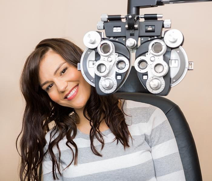 Woman preparing for her eye exam