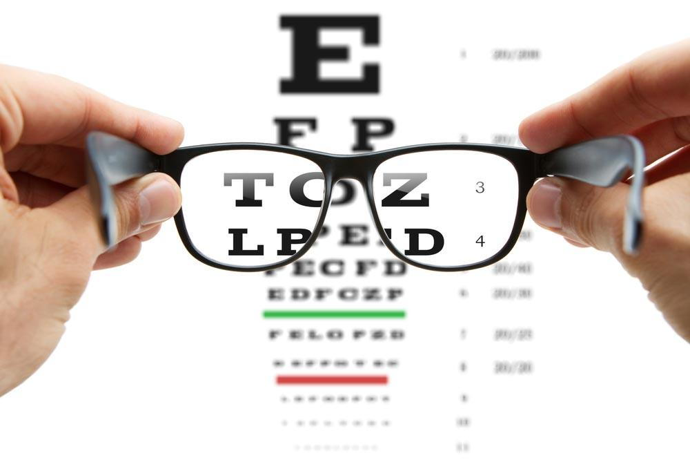 prescription eyeglasses looking into an eye chart - How To Choose The Best Pensacola Store For Eyeglasses Near Me - Fifty Dollar Eye Guy 5328 N Davis Hwy Pensacola, FL 32503 (850) 434-6387