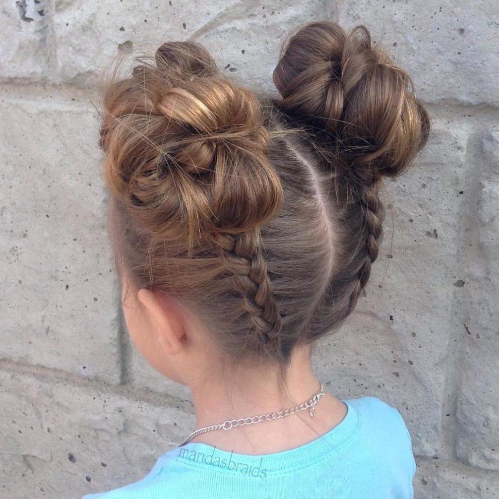 dutch braids into voluminous buns