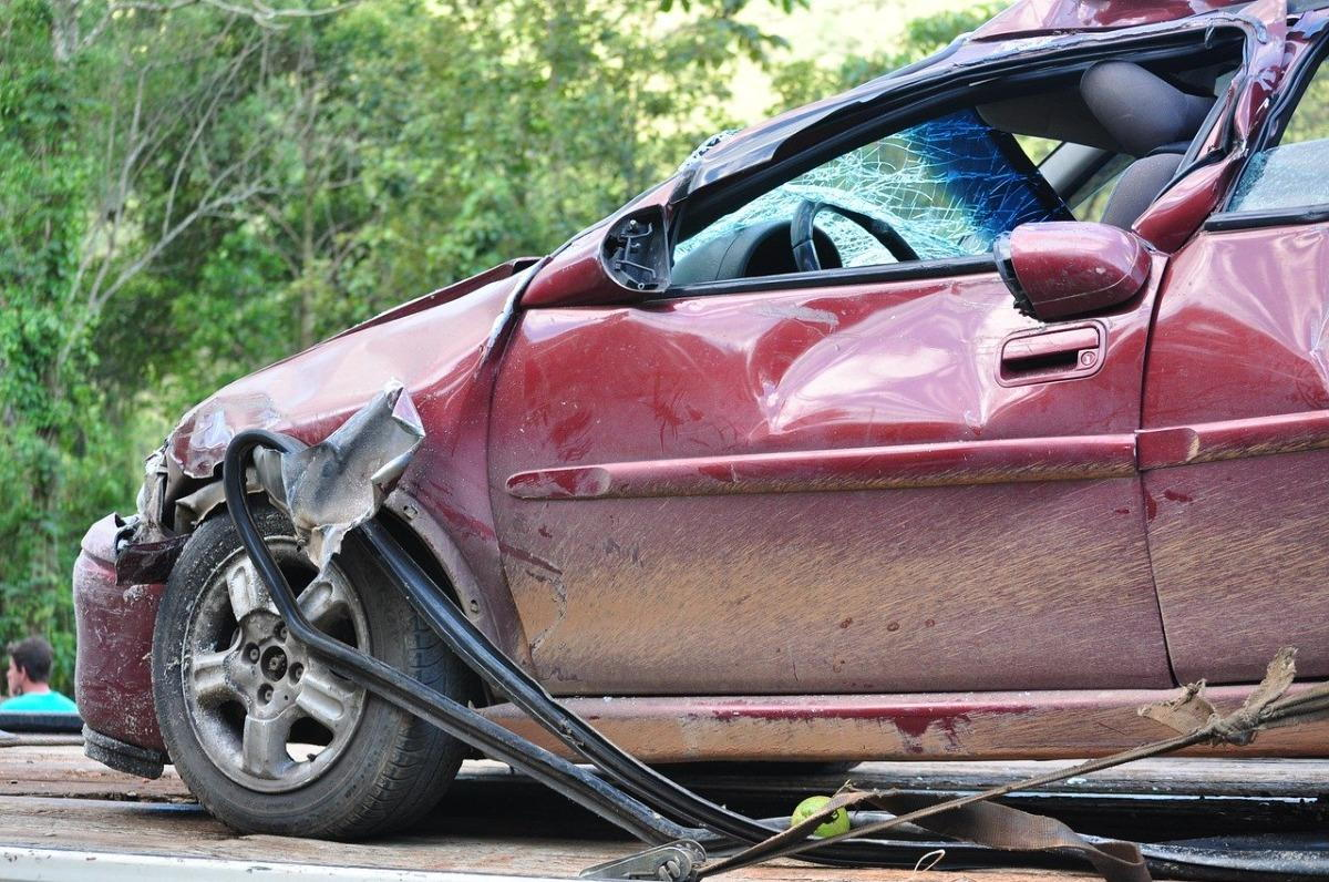 a passenger vehicle that has been damaged in an accident