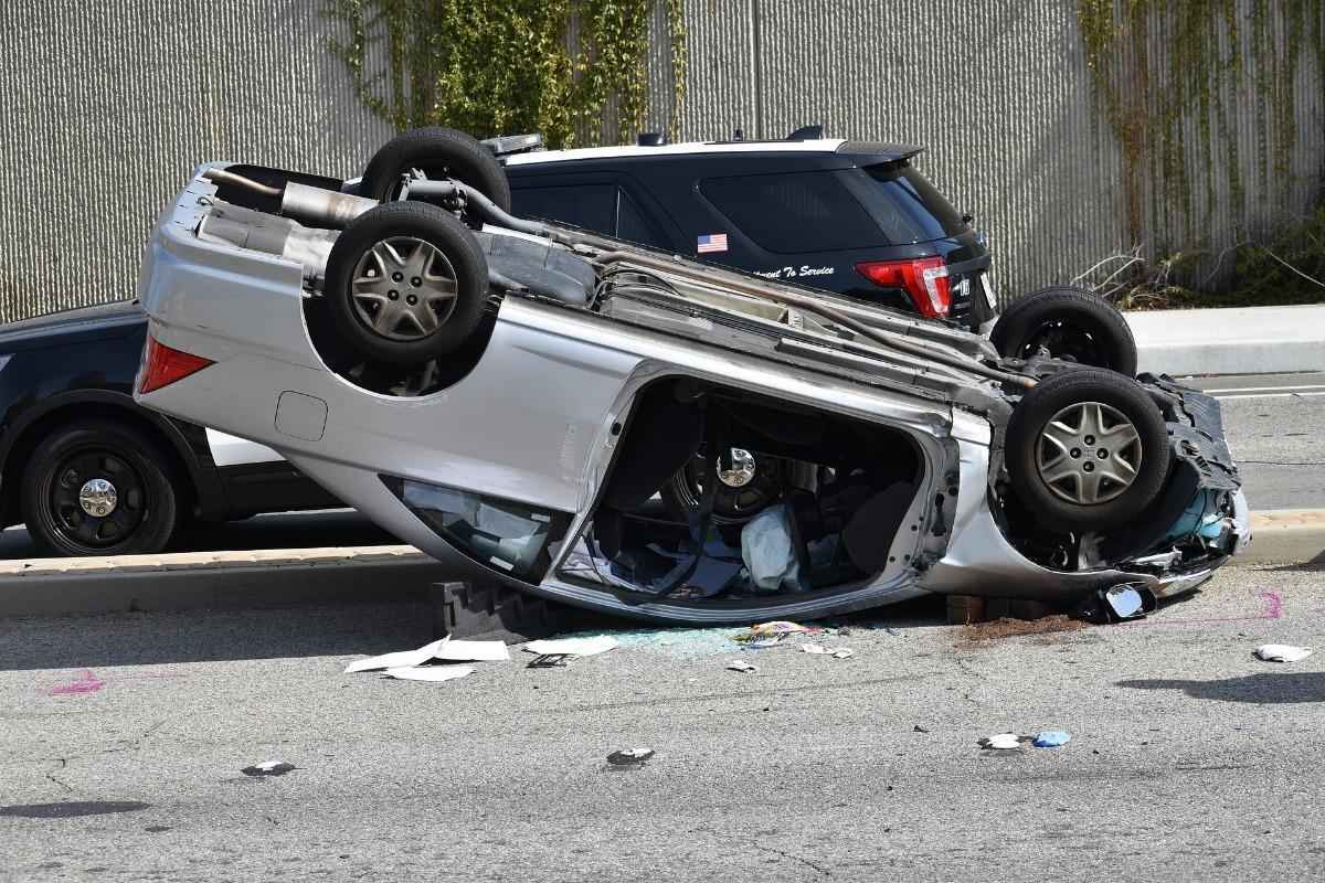 A flipped over car