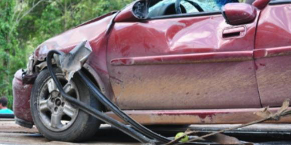 A vehicle that has been damaged in an accident