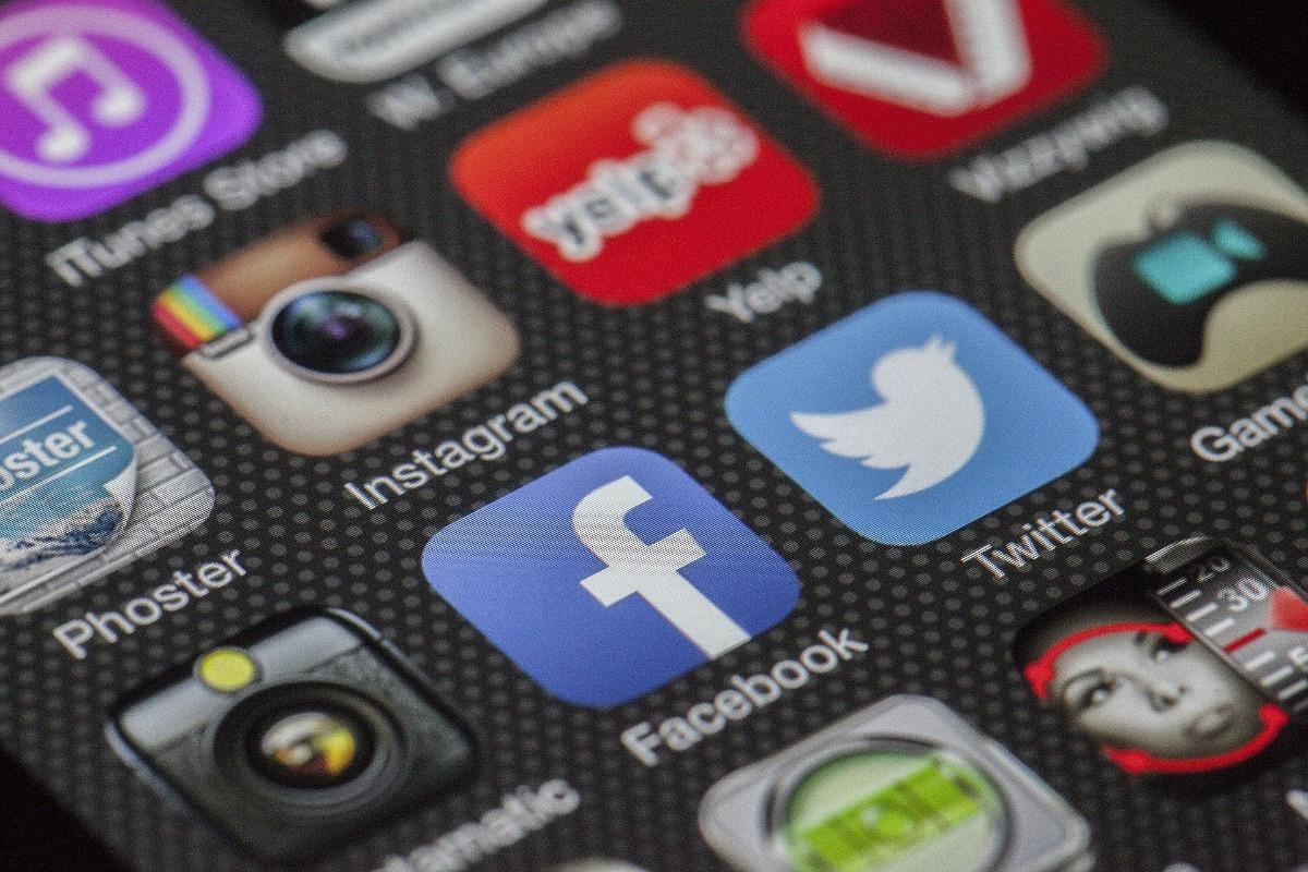 Social media app icons on a screen