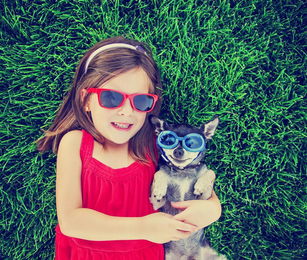 child and dog wearing sunglasses