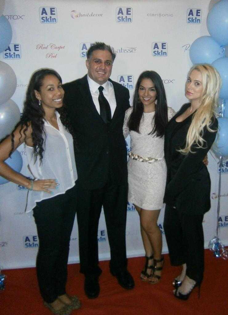 Dr. Alex with his assistants Darcelle, Alondra, and Michelle A. at the 2013 A E Skin Red Carpet Event