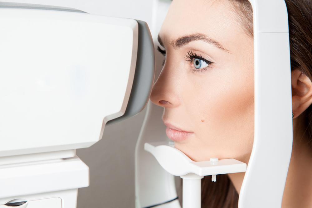 Woman getting an eye exam