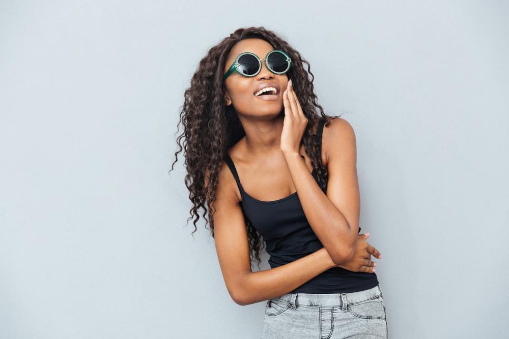 Woman wearing polaroid glasses