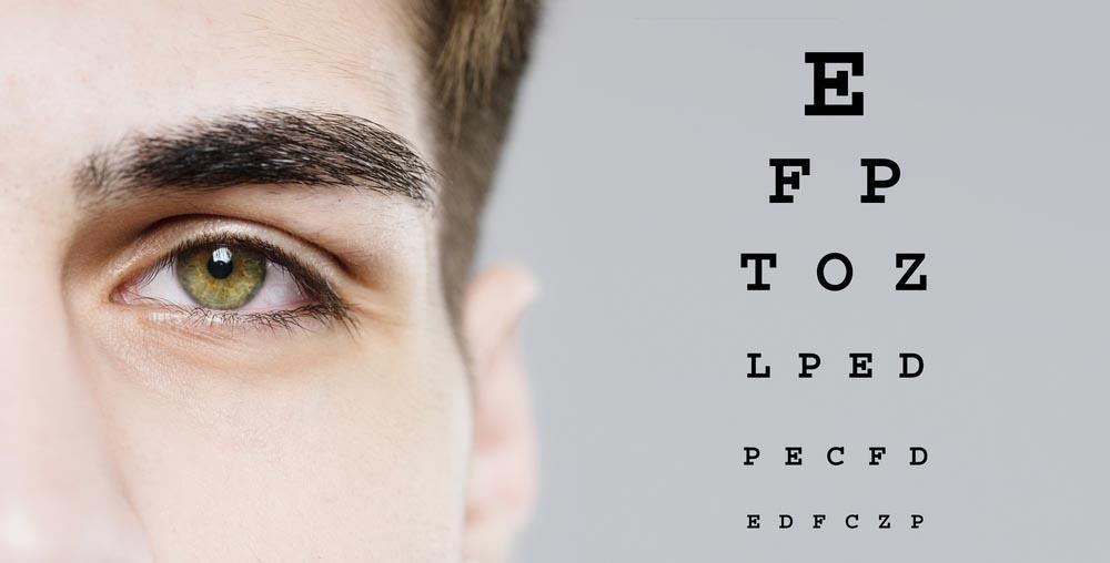 Man looking at an eye chart- prescription eye glasses Pensacola- Fifty Dollar Eye Guy 5328 N Davis Hwy Pensacola, FL 32503 (850) 434-6387.jpg