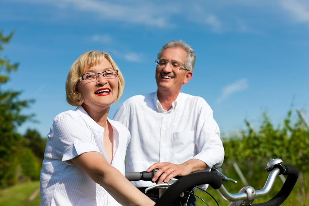 older people on bikes realizing their vision is changing