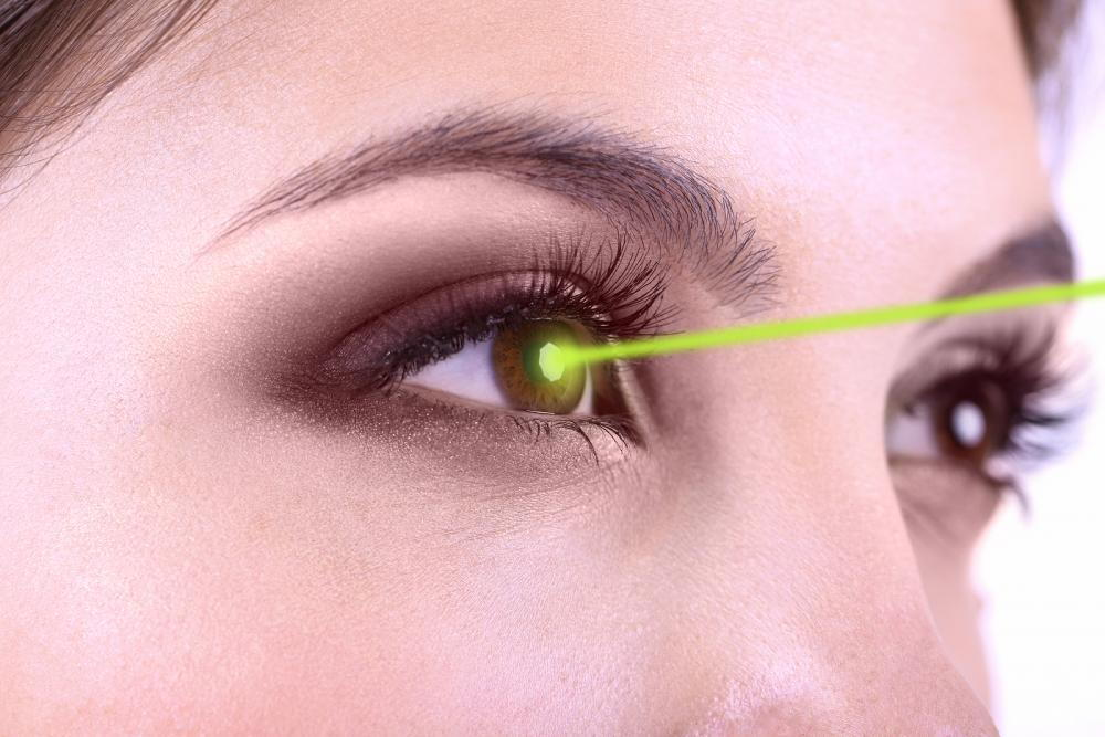 laser pointed at woman's eye
