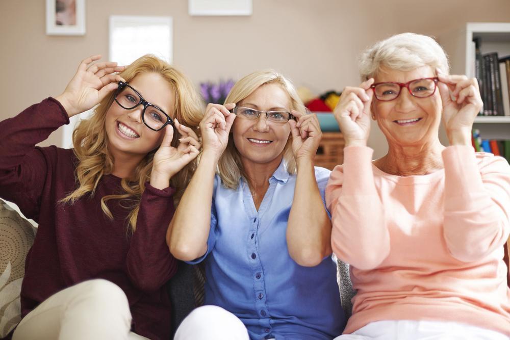 Family enjoying their new glasses.
